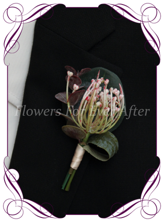 Silk artificial blush pink native Australian foliage mens gents button boutonniere for wedding formal prom.