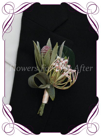 Silk artificial protea bud, blush pink native Australian foliage mens gents button boutonniere for wedding formal prom.