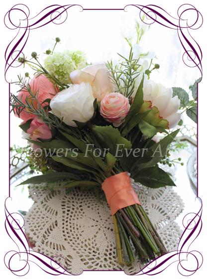 Silk artificial coral, apricot, pink and blush elegant wedding bridal bouquet posy. Ranunculi, roses, wildflowers, berries.Made in Melbourne Australia, post worldwide.
