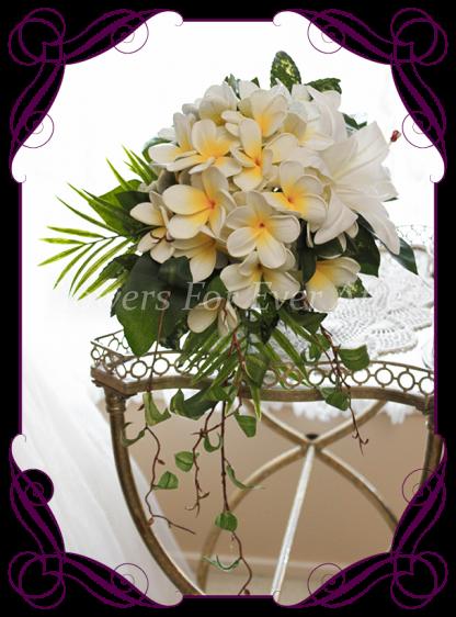 Silk artificial lily and frangipani elegant wedding tear cascade bridal bouquet posy. Made in Melbourne Australia, post worldwide.
