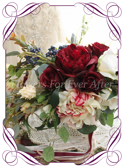 Silk artificial burgundy, ivory, navy and pink elegant wedding bridal bouquet posy. Roses, native gum foliage leaves, peonies. Made in Melbourne Australia, post worldwide. Elopement. Eloping bouquet flowers.