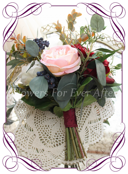 Silk artificial burgundy, ivory, navy and pink elegant wedding bridesmaids bouquet posy. Roses, native gum foliage leaves, peonies. Made in Melbourne Australia, post worldwide. Elopement. Eloping bouquet flowers.