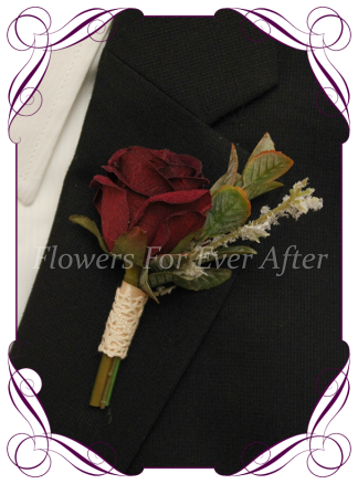Silk artificial burgundy rose bud with ivory mens gents button boutonniere for wedding formal prom.