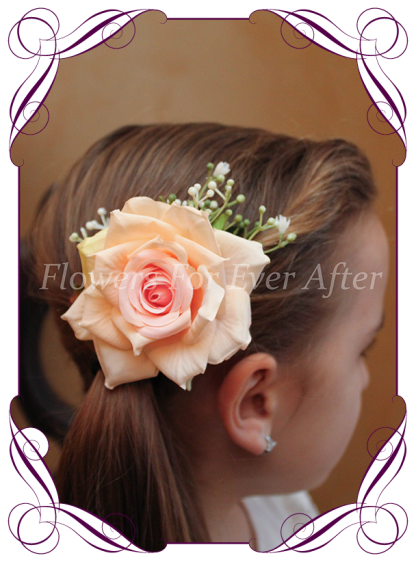 Silk artificial pastel pink hair flower rose with babys breath. Wedding flowers, made in Melbourne. Buy online