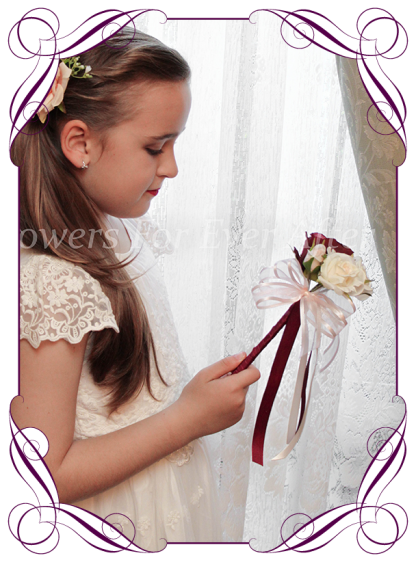 Silk artificial burgundy, ivory and pink flower girl wedding floral wand. Made in Melbourne Australia, post worldwide