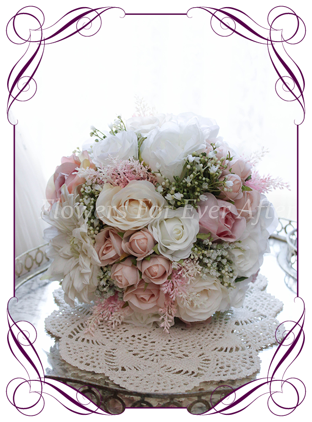 BLUSH PALE PINK SILK ROSES /& ROSE BUDS TIED BUNCH SMALL BOUQUET 9 x IVORY