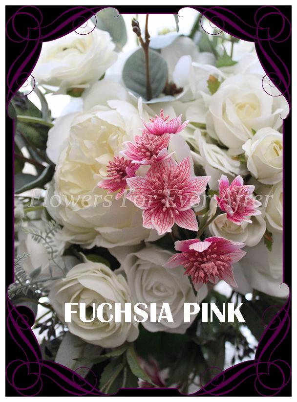 Artificial Faux Ranunculus Silk Flowers Bunch of 6 Antique Purple Ranunculi