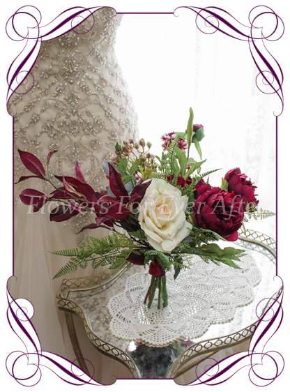 silk artificial flower rustic boho bridesmaids posy bouquet. Peonies, ferns, raspberry, plum colours. Made in Melbourne. Shipping worldwide.