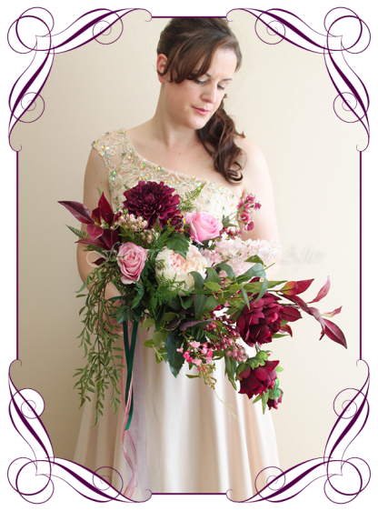 silk artificial bridal bouquet rustic boho bridal posy bouquet. Peonies, ferns, raspberry, plum colours. Made in Melbourne. Shipping worldwide.
