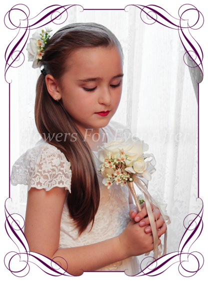 A romantic silk Artificial flower girl wand featuring faux flower blush champagne David Austin rose. Made in Melbourne by Australia's Best Artificial Bridal Florist. Worldwide Shipping available. Buy online