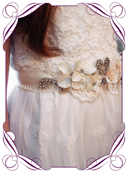 bling, lace and silk flower ivory champagne bridal sash / belt. Made in Melbourne. Shipping worldwide.