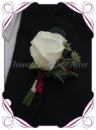 Artificial Wedding Flower Rose Grooms Boutonierre , made in Melbourne, world wide shipping