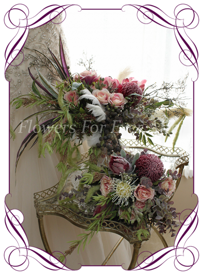 Artificial Bridal Bouquet & Package, Bohemian wedding flowers featuring artificial Protea, Banksia, Pampas Grass, roses, Eucalypt Foliage, Melbournes Best Silk Bridal Florist Flowers For Ever After. Custom Orders, World Wide Shipping