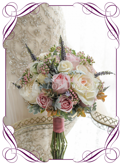 Silk faux flower bridal Bouquet, brides bouquet featuring silk roses in blush tones with textures in a classical style. Made in melbourne by Australia's best silk wedding florist. World wide shipping