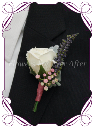 Artificial Faux Bridal Flower Grooms Boutonierre, Silk wedding florist Melbourne. Worldwide Shipping