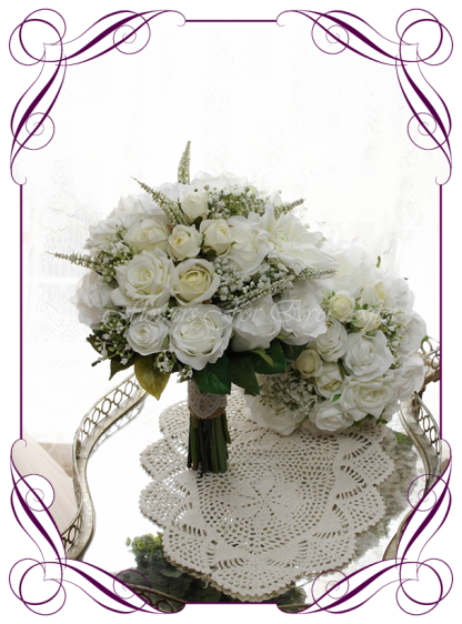 Silk artificial wedding bouquet ideas. Mixed ivory white faux silk bridal bouquet wedding page set flowers. Roses, peonies, baby's breath. Elegant romantic wedding posy bouquet. Made in Melbourne. Buy online. Shipping worldwide.