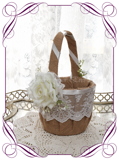 Silk artificial decorated rustic lace burlap and baby's breath gyp flower girl wedding basket. Made in Melbourne Shipping world wide. Buy online