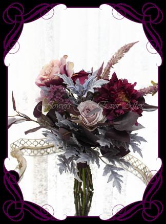 Unusual moody wedding flower design idea, silk artificial bridesmaids posy bouquet. Wedding flowers, bridal party flowers. Dark plum, mauve, purple, navy berries, smokey leaves, dusty pink, dahlia, roses. Made in Melbourne. Buy online. Shipping worldwide.