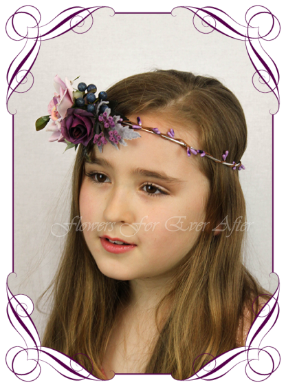 Silk artificial floral hair crown halo, for wedding, engagement, party. Suitable for adults and child flower girl. Mauve, purple, and navy berry, moody style. Floral crown ideas.Buy online. Made in Melbourne.