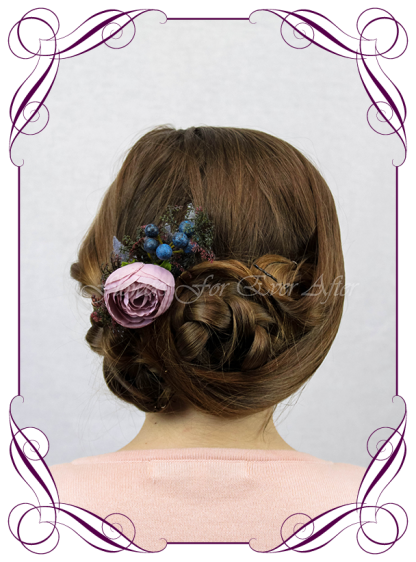 Silk artificial floral hair comb , for wedding, engagement, party. Suitable for adults and child flower girl. Mauve and navy berry. Buy online. Made in Melbourne.