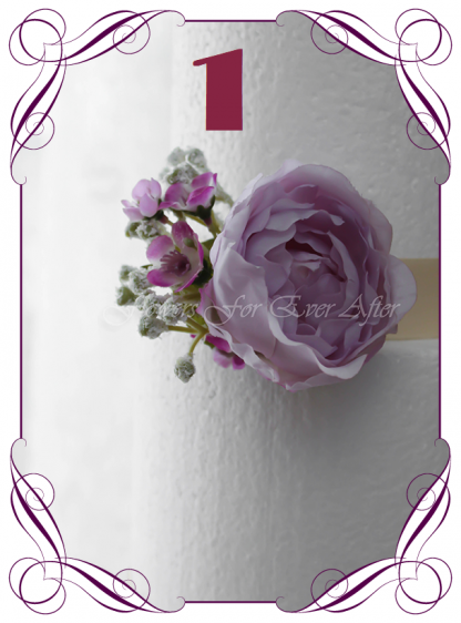Silk artificial wedding cake ideas. Mixed purple lilac and white silk . Roses, peonies, baby's breath. Cadbury purple flowers. Made in Melbourne. Buy online. Shipping worldwide.