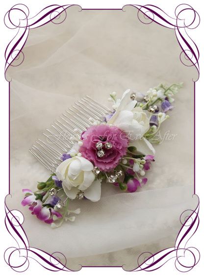 Silk artificial hair flower comb, purple and lilac floral hair piece. Perfect for a wedding, special occasion, birthday party. Made in Melbourne. Buy online.