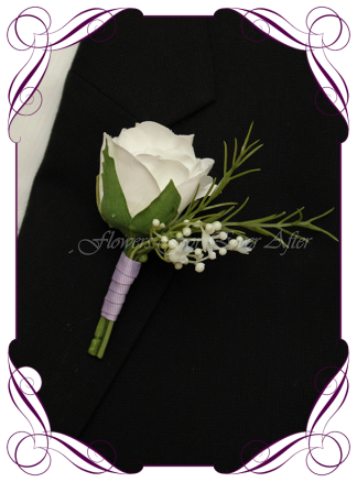 Artificial Faux Bridal Flower Grooms Boutonniere, Silk wedding florist Melbourne. Worldwide Shipping. Gents flower button