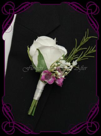Artificial Faux Bridal Flower Grooms Boutonniere, Silk wedding florist Melbourne. Worldwide Shipping. Gents flower button