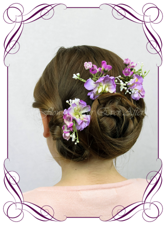 Silk artificial hair flower pins, purple and lilac floral hair piece for scattering. Perfect for a wedding, special occasion, birthday party. Made in Melbourne. Buy online.