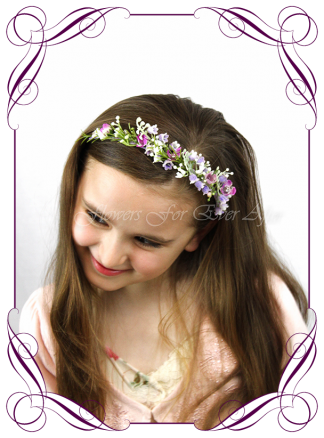Silk artificial flower girl headband, purple and lilac floral hair piece. Perfect for a wedding, special occasion, birthday party. Made in Melbourne. Buy online.