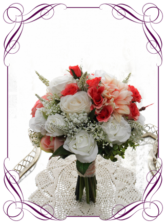 Silk artificial wedding bouquet ideas. Mixed ivory white and coral orange faux silk bridal bouquet wedding flowers. Roses, peonies, baby's breath. Elegant romantic wedding posy bouquet. Made in Melbourne. Buy online. Shipping worldwide.