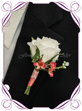 Artificial Faux Bridal Flower Grooms Boutonniere, Silk wedding florist Melbourne. Worldwide Shipping. Gents coral flower button