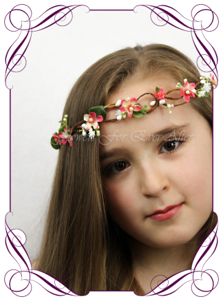 Silk Artificial floral hair crown / halo featuring faux flower coral dainty small flowers, gyp baby's breath and pearls in a simple style. Made in Melbourne by Australia's best Silk Florist, worldwide shipping available