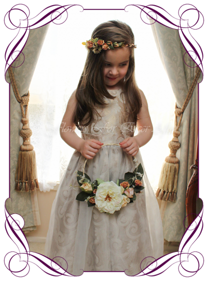 Artificial Faux Bridal Flower Girl held floral loop / wreath with cream and burnt orange boho colours. Silk wedding florist Melbourne. Worldwide Shipping. Earth tone cream and rust flower wreath