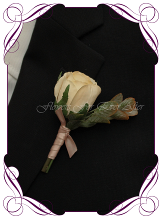 Artificial Faux Bridal Flower Grooms Boutonniere, Silk wedding florist Melbourne. Worldwide Shipping. Gents earth tone cream and rust flower button