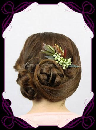 Silk artificial faux Australian native hair comb design. Burgundy and burnt orange rust, gum leaf foliage. Made in Melbourne by Australia's best wedding florist. Buy online.