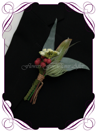 Silk artificial faux Australian native gents button boutonniere, wedding flowers for men, prom, formal. Burgundy gum leaf foliage. Made in Melbourne by Australia's best wedding florist. Buy online.