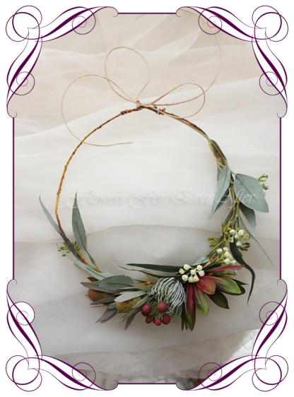 Silk artificial faux Australian native hair halo / crown design. Burgundy red gum flower and protea nuts. Made in Melbourne by Australia's best wedding florist. Buy online.