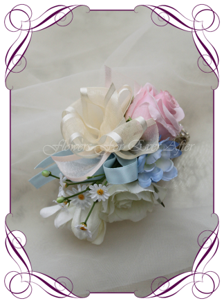 Artificial Faux Bridal Flower ladies corsage, Silk wedding florist Melbourne. Worldwide Shipping. Pastel colours corsage. Mother of the bride. Formal wrist corsage.