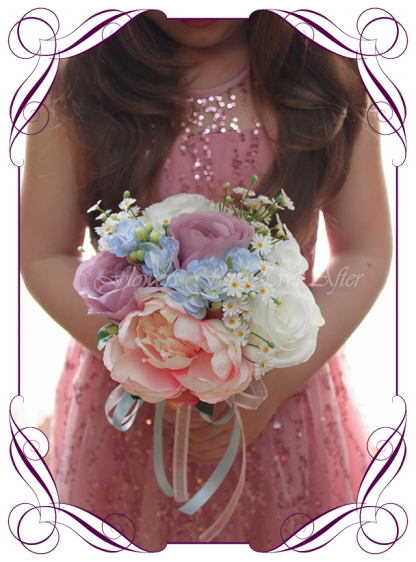 Silk Artificial pastel colourful flower girl posy featuring faux flower blue hydrangea and roses in a classical style and pastel tones. Made in Melbourne by Australia's best Silk Florist, worldwide shipping available