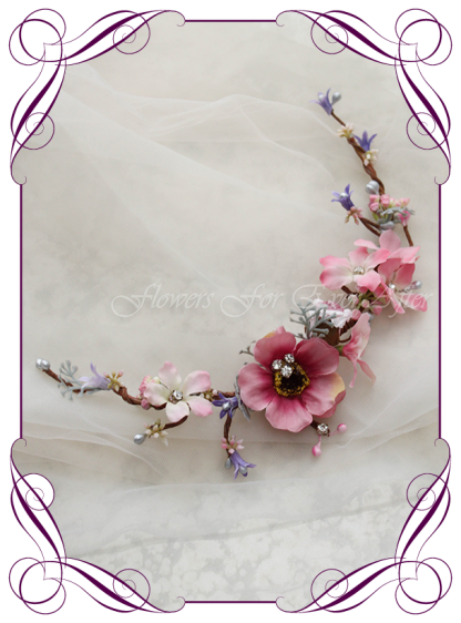 Silk Artificial floral bridal hair vine comb featuring faux flower pinks and purples with crystals. Made in Melbourne by Australia's best Silk Florist, worldwide shipping available