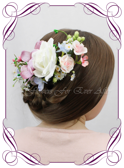 Silk Artificial floral bridal hair comb featuring faux flower powder blue pinks and purples with crystals. Made in Melbourne by Australia's best Silk Florist, worldwide shipping available
