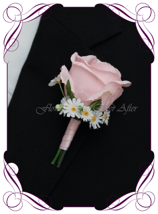 Artificial Faux Bridal Flower Grooms Boutonniere, Silk wedding florist Melbourne. Worldwide Shipping. Gents pastel pink flower button