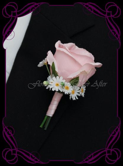 Artificial Faux Bridal Flower Grooms Boutonniere, Silk wedding florist Melbourne. Worldwide Shipping. Gents pastel pink flower button