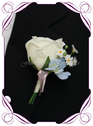 Artificial Faux Bridal Flower Grooms Boutonniere, Silk wedding florist Melbourne. Worldwide Shipping. Gents pastel powder blue flower button