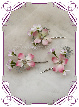 Silk Artificial floral hair pins featuring faux flower pinks with crystals. Made in Melbourne by Australia's best Silk Florist, worldwide shipping available