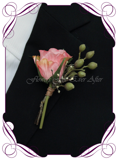 silk artificial unusual dusty rode gold pink rose mens gents button boutonniere for wedding, prom, formal. Grooms groomsmans flower. Made in Australia. Shipping world wide. Buy online.