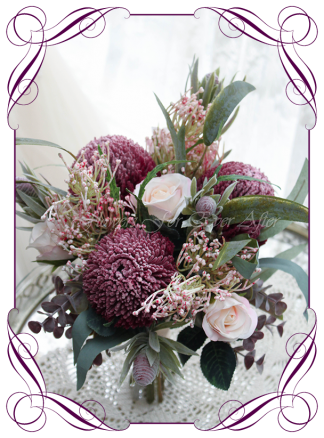 Silk artificial Native Australian burgundy and blush pink bridesmaid wedding bouquet posy flowers. Dusty pink protea, burgundy banksia, native gum leaf foliage. Made in Melbourne. Shipping worldwide. Buy online. Package available.