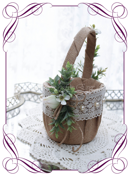 Silk artificial decorated rustic and Australian native flower girl wedding basket. Blushing bride protea ivory and blush. Made in Melbourne Shipping world wide. Buy online