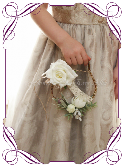 Silk artificial little toddler flower girl rustic boho loop for weddings. Made in Australia. Buy online. Postage worldwide